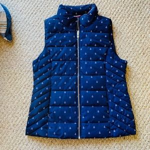 Quilted puffy vest with anchor pattern size M